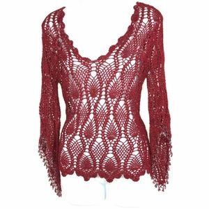 The Limited Crocheted Mid Sleeve Beaded Sweater